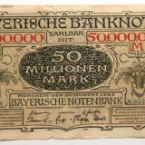 Bancnota Straine, Europa, An: 1923 - P1 GERMANIA 50 Millionen 50.000.000 Mark 1923 sr 052668 Munchen Catalog 10 $