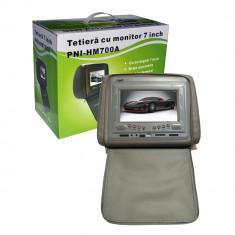 DVD Player Portabil - Resigilat - Tetieră 7 inch PNI HM700A-G gri cu fermoar