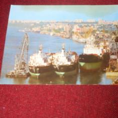 CARTE POSTALA/VEDERE/ILUSTRATA GALATI NAVE PE DUNARE 1988 - Carte Postala Moldova dupa 1918, Circulata, Fotografie