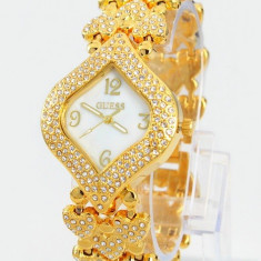 Ceas de Dama Guess, Fashion, Quartz, Placat cu aur, Placat cu aur, Rezistent la apa - CEAS DAMA GUESS CELEBRATING STAR ELITE GOLD-SUPERB-MODEL NOU-CRISTALE AUSTRIA !!