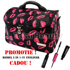 Geanta cosmetice - Geanta cosmetica si manichiura Fraulein38 Diva Lips + CADOU Rimel cu Eyeliner