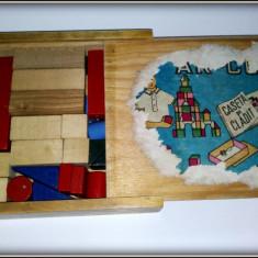 Jucarie de colectie - Joc vechi Ar-co, Caseta de cladit - cutie lemn -complet