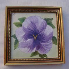 Frumoasa pictura realizata pe faianta, semnata si datata 1980 - Tablou autor neidentificat, Flori, Tempera, Realism