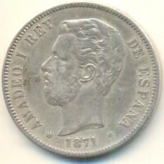 Spania 5 pesetas 1871-Ag 24, 9g-necuratata, Europa, An: 2001