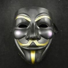 Masca Anonymous Negru, Guy Fawkes, Masca V for Vendetta, Rezistenta model negru - Masca carnaval, Marime: Masura unica, Marime universala, Culoare: Din imagine