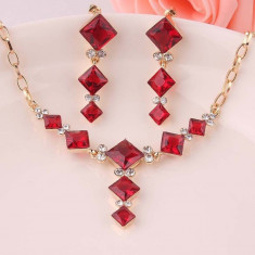 Set Swarovski - Set de bijuterii placat Aur, Red Cristale Swarovski cod 722