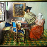 TABLOU SEMNAT, PICTURA IN ULEI PE PANZA - Pictor strain, Scene gen, Realism