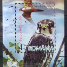 ROMANIA 1761/2007 - PASARI DE PRADA, 1 S/S DANTELATA NEOBLITERATA - RO 0457, Spatiu