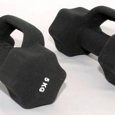 Gantere/Haltere - Set de 2 gantere din neopren 2 x 5 kg - cu manere suplimentare -