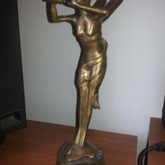 Metal/Fonta - Statueta veche, franceza din bronz masiv, femeie-libelula