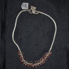 Bratara argint, Femei - BRATARA DE PICIOR - ARGINT 925 - Cu bilute rosii - 26 - 27 cm - Deosebita !
