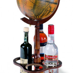 Glob pamantesc mic de birou cu suport pentru sticle de vin 22 cm