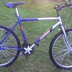 Bicicleta - Mountain Bike Nespecificat, 20 inch, 22 inch, Numar viteze: 18, Otel, Gri-Albastru