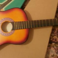 Chitara clasica incepatori cu corzi de metal si pana culoare galben-rosu
