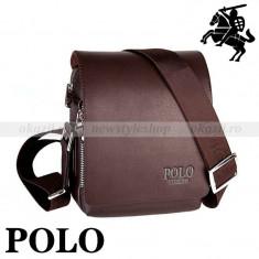 POLO STUDENT– geantă de umăr (verticală) din piele - Geanta Barbati Polo Sport, Marime: Mica, Culoare: Maro, Negru, Geanta tip postas