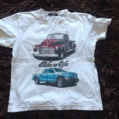 Tricou pentru copii, unisex, marime 116 cm, Waikiki, pentru 5-6 ani, cu masini, Culoare: Alb