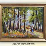 Prin padure - tablou peisaj in ulei pe panza, 46x36cm, Peisaje, Altul