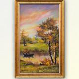 Peisaj cu pescari - pictura in ulei pe panza, inramata, 57x36cm