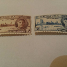 Anglia/colonii/bermuda 1946 regele george/serie MNH, Nestampilat