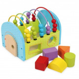 Jucarie lemn bebelusi educationala cu forme si abac