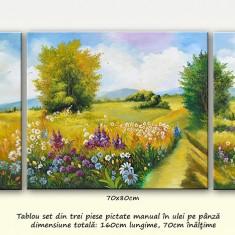 Zi frumoasa de vara (2) - tablou 3 piese, ulei pe panza, 160x70cm