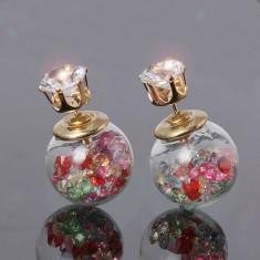 Cercei fashion originali cu doua fete - cristale multicolor, cadou femei - noi