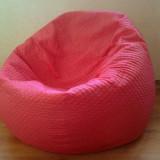 accesoriu mobila - Husa roz/fraise pentru fotoliu puf, detasabila, lavabila, din material textil