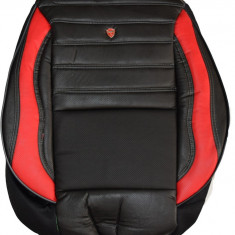Husa Auto - Huse scaune auto imitatie piele perforata LUX Negru + Rosu