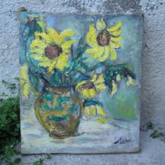 Floarea soarelui, pictura in ulei pe panza - Pictor roman, Flori, Altul