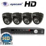 Camera CCTV - Kit supraveghere AHD cu 4 camere 1MP si DVR Eyecam EC-AHD-KIT4