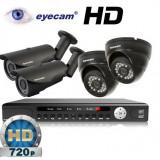 Camera CCTV - Kit supraveghere AHD cu 4 camere 1MP si DVR Eyecam EC-AHD-KIT16