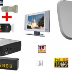 Sistem complet satelit - Antena tv HD cu televizor auto, camping, rulota sau pavilion apicol
