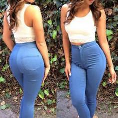 Pantaloni dama - CL502-4 Pantaloni tip blugi, cu talie inalta