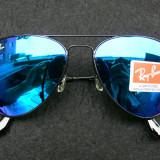 OCHELARI DE SOARE RAY BAN AVIATOR 3025 LENTILA STICLA MIRROR BLUE-RAMA NEAGRA !!