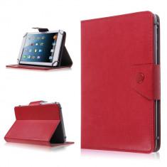 Husa Tableta 7 Inch Model X, Rosu, Tip Mapa, Prindere 4 Cleme C87, 7 inch, Universal