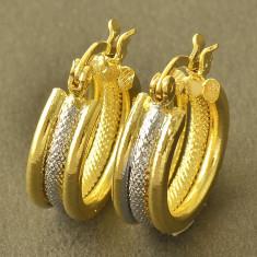 Cercei tortita filati placati cu aur galben si alb 14k gold filled +cutie cadou - Cercei placati cu aur Guess