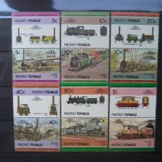 Timbre straine, An: 1984, Transporturi, Nestampilat - 1984 Tuvalu ( Niutao ) Mi 9 - 20 Trenuri, locomotive serie neuzata.