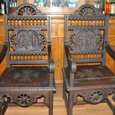 Mobilier, Scaune, 1800 - 1899 - SET VECHI SI RAR DE DOUA TRONURI, PERIOADA SFARSITUL ANILOR 1800
