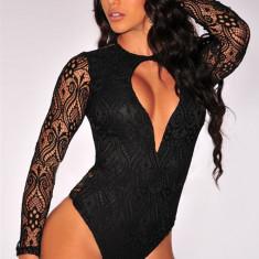 Body dama - S402-1 Body sexy cu maneci lungi din dantela semitransparenta si decupaj in fata