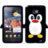 Husa silicon negru pinguin Samsung Galaxy S2  + folie protectie cadou