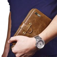 Geanta Dama, Piele - PORTOFEL GEANTA piele naturala vintage iCarer universal, multifunctional, MARO