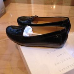 Pantofi mocasini Geox Respira piele naturala lacuita NOI marimea 39 - Pantof dama Geox, Culoare: Negru