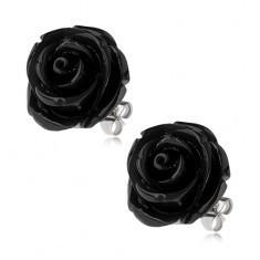 Cercei din oţel, trandafir negru din răşină, închidere cu şurub, 20 mm - Cercei inox