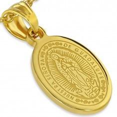 Medalion din oţel auriu, Înălţarea Fecioarei Maria, 13 x 19 mm - Pandantiv inox