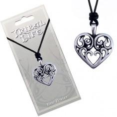Colier din șnur - pandantiv șlefuit din metal, inimă cu ornamente
