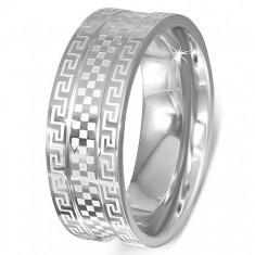 Inel din oțel - bandă cu cheie grecească și tablă de șah - Inel inox