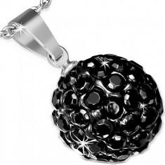 Pandantiv din oţel chirurgical, bilă Shamballa neagră încrustată cu pietre - Pandantiv inox