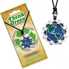 Colier eco-prietenos cu pandantiv - glob pământesc, personaje în cerc