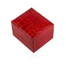 Cutiuţă de cadou pentru inel, roşie, lucioasă, model piele de crocodil - Cutie Bijuterii