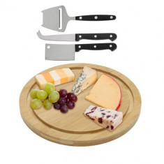 Set Tocător și Cuţite pentru Brânzeturi din Bambus (4 piese)